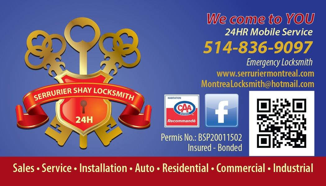 SHAY MONTREAL LOCKSMITH BUSINESS CARD